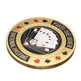 Metallo poker protettore Card Guard chip di moneta d'oro placcato con custodia in plastica rotondo