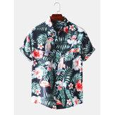 Chemise décontractée à manches courtes respirante à motif tropical pour hommes