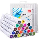Deli 707001個12/24色マーカーペンセット双頭マーカーペン手描きアーティストマーカーペン子供向けギフト