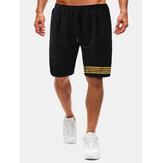 Baumwolle Herren Gold Streifen Kordelzug Schwarz Fitness Workout Shorts Mit Tasche