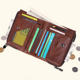RFID Men Genuine Leather 10 Card Slot Double Zipper Wallet