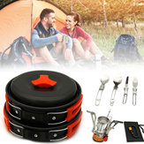 1-2 People Backpacking Cookware Set Gas Butane Propane Canister Cooking Stove Pot Bowl Pan Picnic BBQ Tableware Outdoor Camping