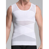 Mens New Abdomen Brust Straight Back Light Mesh Atmungsaktiv Korsett Body Sculpting Vests Tops