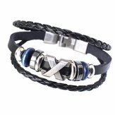 Ethnic Multilayer Leather Oval Beads Rope Bracelets For men