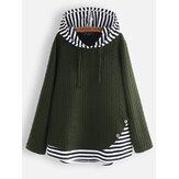 Gestreiftes Jacquard-Sweatshirt mit Patchworkknopf und Kapuze