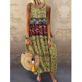 Women Sleeveless O-neck Floral Print Baggy Summer Maxi Dress