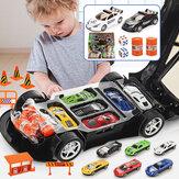 Jouet modèle de véhicule moulé sous pression de voiture de Police de Simulation avec son et lumière Sirnes avec 6 voitures et carte de jeu pour cadeau de vacances d'anniversaire pour enfants