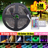 5M IP20 IP67 SMD2835 RGB LED Strip Light DC12V + 24Keys of 44Keys afstandsbediening voor Indoor Home Decor