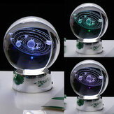 3D Solar System Crystal Ball 7 Color LED Universe Star Ball Laser Engraved Decoration