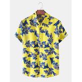 Mens Leaves Print Button Up Hawaii Lässige Kurzarmhemden