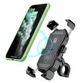 2 In 1 Qi Wireless Car Charger and QC3.0 Quick Bicycle USB Charger Rearview Mirror Mount Cell Phone Mount for Motorcycle