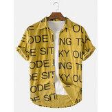 Dunne corduroy overhemden met omgeslagen kraag, letterprint en korte mouwen