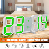 LED Digital Table Wall Clock Large 3D Display Alarm Clock Brightness Dimmer USB Power