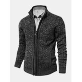 Mens Ribbed Knitted Zipper Long Sleeve Sweater Cardigans With Pocket