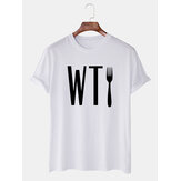 Mens Letter Printed Round Neck Casual Short Sleeve T-Shirts