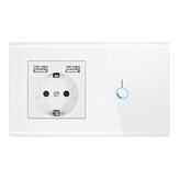 Interruptor táctil Sensor con Enchufe con panel de cristal USB 110-250V 16A Pared Enchufe con interruptor de luz
