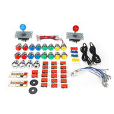 50 pz fai da te arcade kit joystick usb chip board 32mm LED Pulsanti 5 pin joystick pulsante placcatura cavo usb