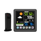TS-3310-BK Full Touch Screen Wireless Weather Station Multi-function Color Screen Indoor and Outdoor Temperature Humidity Meter Clock Weather Forecast Station