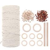Cordon en macramé naturel cordon en coton de 3 mm avec anneau en bois 8pcs et 2 bâtons en bois pour fil tressé artisanat bricolage
