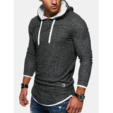 Mens Solid Color Long Sleeve Casual Drawstring Hoodies