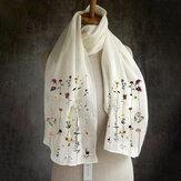 Dames multifunctionele lichtgewicht bloemmotief elegante lange sjaal omslagdoek