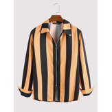 Mens Wide Stripe Lane Print Zipper Long Sleeve Casual Shirts