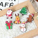 Kerstmis Mini Feestelijke Sneeuwpop Elk Brooch Nieuwjaar Decoratiesl Cadeau Shirt Kraag Broche