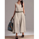 Women Sleeveless V Neck Cotton Wide Leg Jumpsuit
