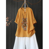 Women Cotton Embroidery Half Sleeve Front Button Vintage Casual Blouse