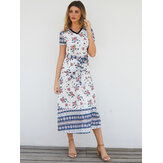Short Sleeve V-neck Floral Print Maxi Dress