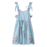 Kid Girls Cotton Vintage Floral Printed Sleeveless Backless Princess Dress
