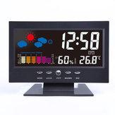 Bakeey رقمي LCD ميزان الحرارة الرطوبة الصوت المنشط شاشة توقعات الطقس درجة الحرارة الاتجاه التقويم غفوة إنذار ساعةحائط