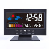 Bakeey Digital LCD Termômetro Higrômetro Som Ativado Tela Previsão do Tempo Temperatura Tendência Calendário Snooze Alarme Relógio