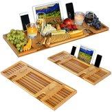 Bandeja de bambú para bañera con estante de lectura / soporte para tableta / bandeja para teléfono móvil / soporte para copa de vino