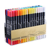 12/24/36/48/80 Couleurs Aquarelle Brush Dual Tips Marker Pen Set avec Fineliner Tip pour le dessin Design Art Marker Supplies