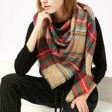 Women Plaid Winter Warm Tassels Scarf