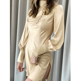 Solid Long Sleeve Summer European Simple Casual Dress For Women