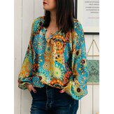 Plus Size Bohemian Printed V-neck Long Sleeve Women Blouse