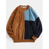 Mens Color Block Patchwork Fluffy Plush Loose Pullover Teddy Sudaderas