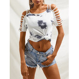 White Tie-dye Print Off Shoulder Casual T-shirts