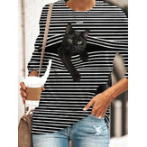Black Cat Print O-Collo manica lunga a righe Plus T-shirt casual taglia