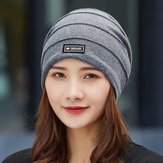Dames Katoen All-match Effen COlor Gestreepte Lab Warme Casual Outdoor Brimless Beanie