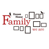 3D Photo Frame Wall Sticker Família Dream House Decoração Art Office Home Decor