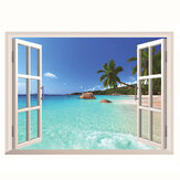 3D Hawaii Holiday Seaview Strand Window View Decal Wand Aufkleber