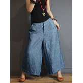 S-5XL Women Casual Loose Mid Rise Wide Leg Pants with Pockets