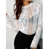 Lace Hollow Round Neck See Through Casual Long Sleeves Shirts
