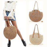 Women Leisure Round Straw Bag Woven Beach Bag