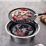 7PCS / Set Нержавеющая сталь Корейский угольный гриль для барбекю для дома / На открытом воздухе Кемпинг Портативная бездымная плита для барбе