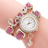 Deffrun hanger dames armband horloge kristal mode-stijl volledig gelegeerd quartz horloge