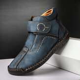 Men Hand Stitching Microfiber Leather Soft Ankle Boots
